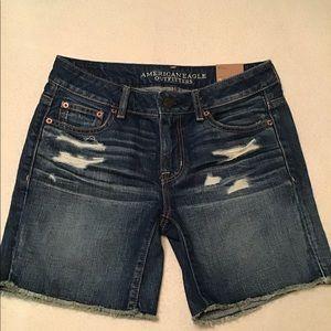 American Eagle Blue Destructed Boy Shorts